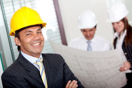 Male engineer in business suit at the office