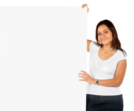 Woman holding a banner isolated over a white background