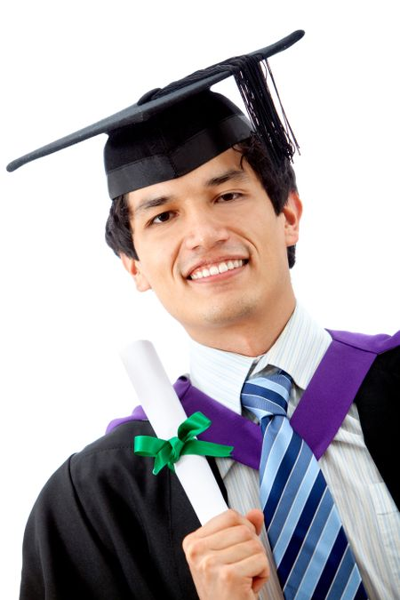 Male graduation student isolated over a white background