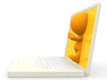 3d person stepping out of a laptop screen - isolated over white
