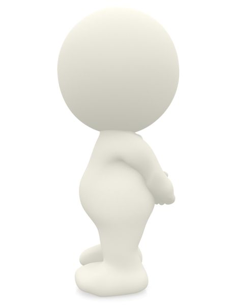 3D person standing with hands behind - isolated over a white background