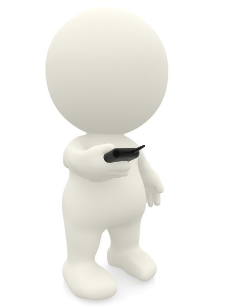 3D person texting on his phone isolated over a white background