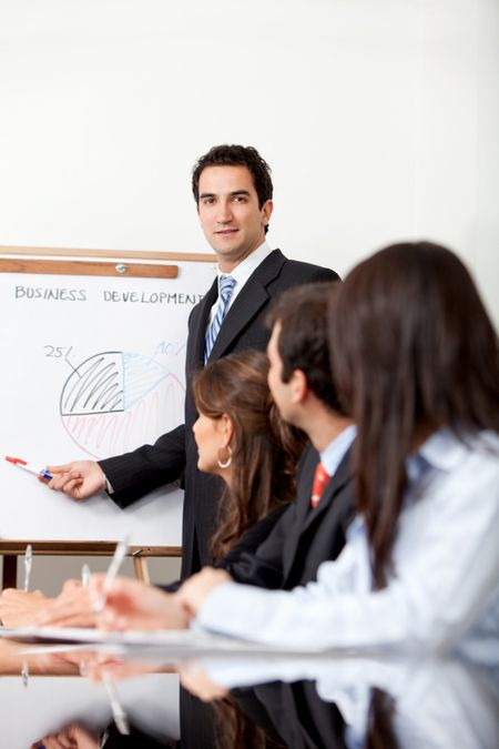 Man in a business meeting displaying the performance of a company