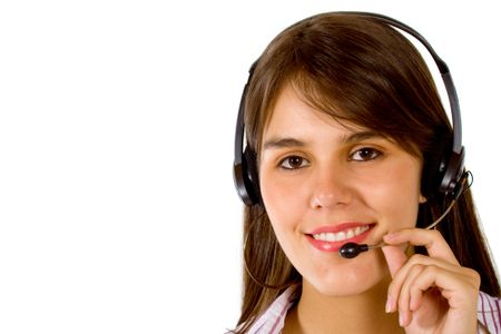 Customer Services Girl smiling - isolated over a white background