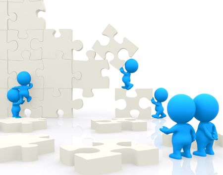 Group of 3D people making a puzzle isolated over a white background