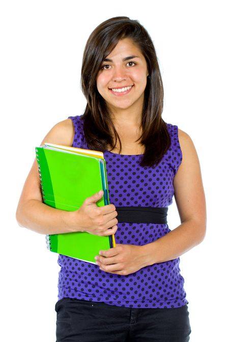 Beautiful female student with a notebook isolated over a white background