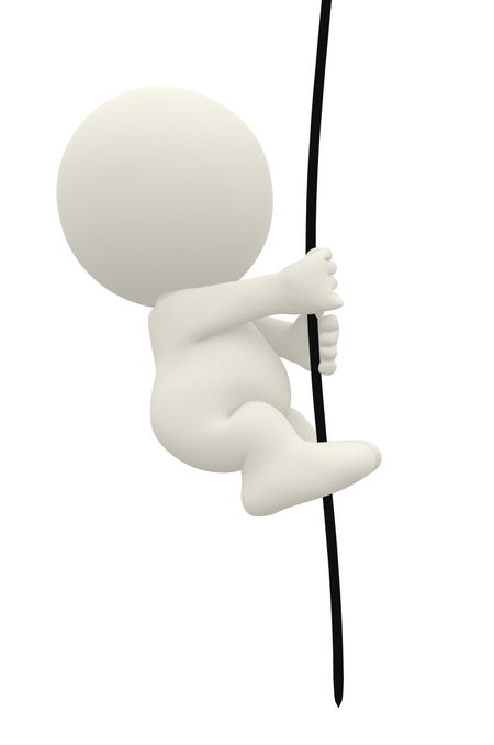 3D man climbing up a rope isolated over white