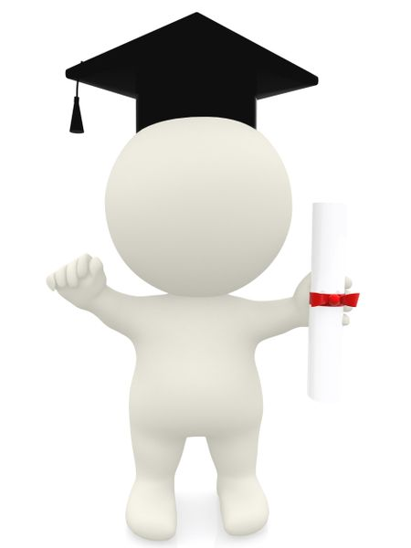 3D man graduation portrait isolated over a white background