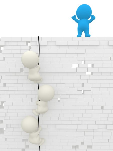 3D men climbing up a wall isolated over white