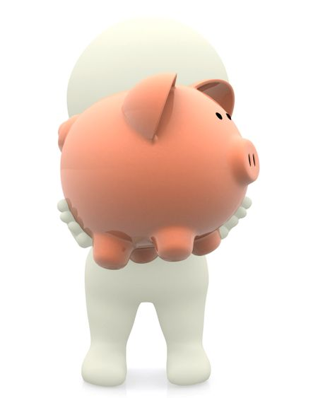 3D man holding a piggybank in front of his face isolated over white