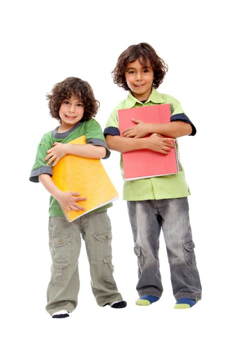 School boys with notebooks isolated over a white background