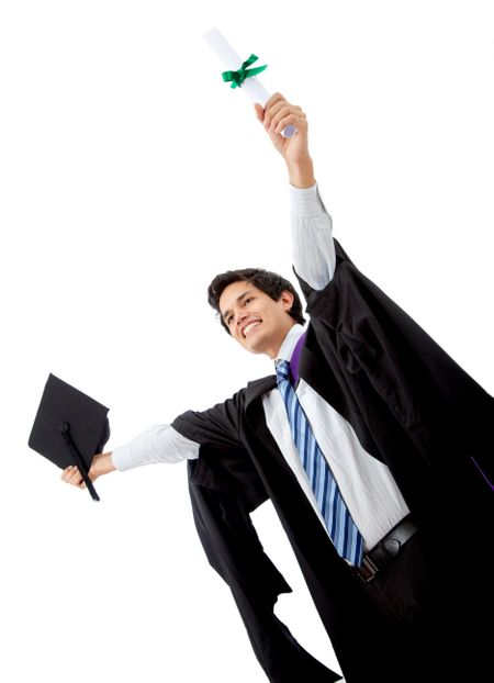 male graduate full of success with his arms up isolated over a white background