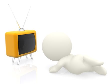 3D man watching tv on the floor isolated over a white background