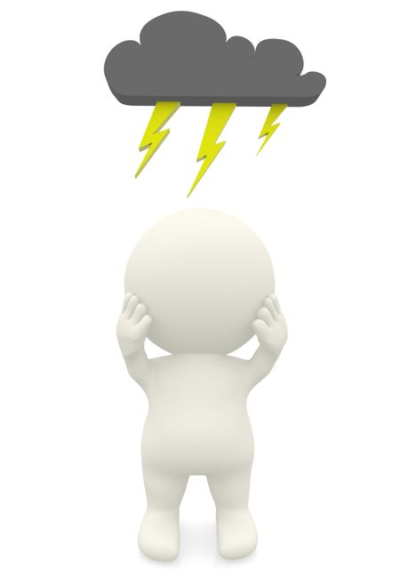 3D man having a bad day under a dark cloud isolated over a white background
