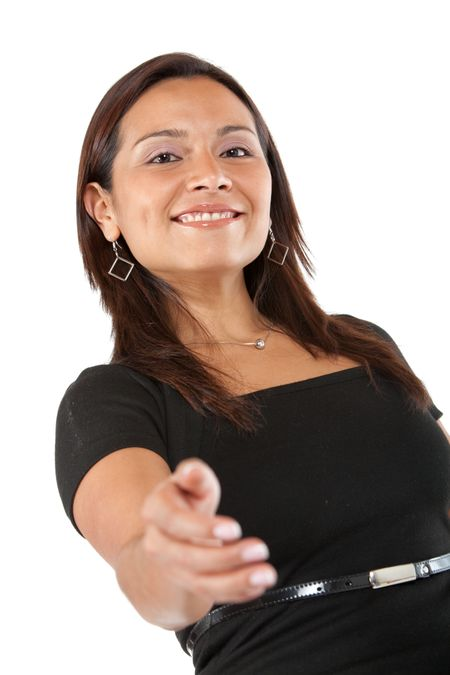 Businesswoman offering a business deal by offering her hand isolated over a white background