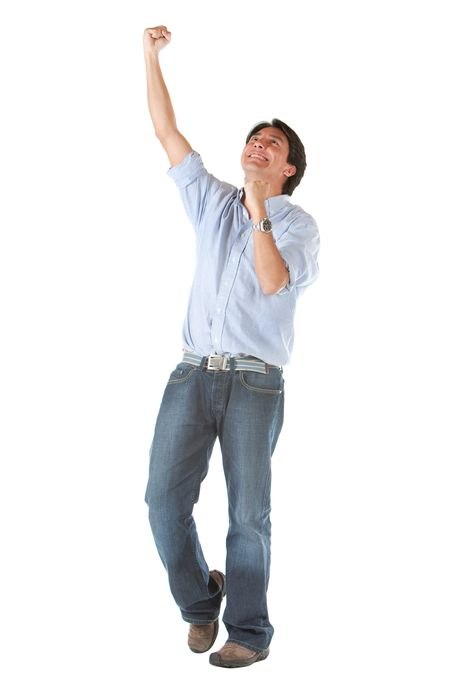 casual man smiling full of success with his arms up over a white background