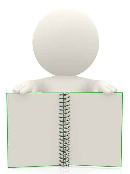 3D Person displaying a notebook isolated over a white background