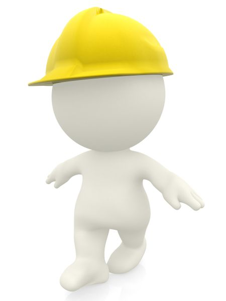 3D construction worker with a helmet isolated over a white background