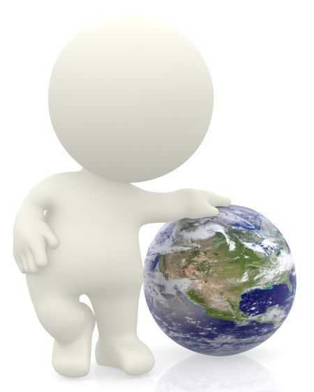 3D person with the Earth isolated over a white background