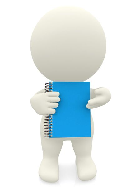 3D person holding a notebook isolated over a white background