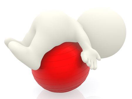 3D person lying on a pilates ball isolated over a white background