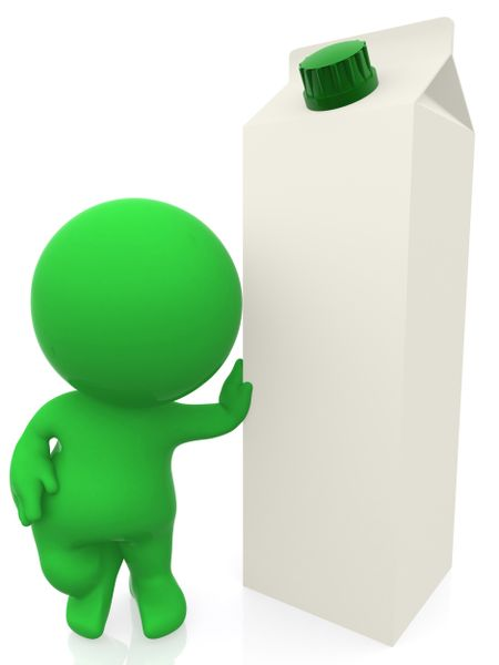 3D man leaning on a milk carton - isolated over white