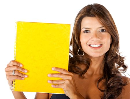 Female student holding a notebook - isolated over white