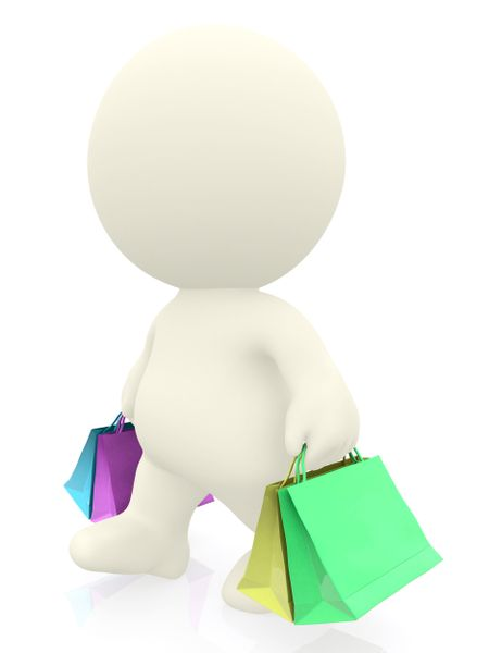 3D man walking with shopping bags isolated over a white background
