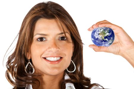 Worldwide business woman holding a globe - isolated over a white background