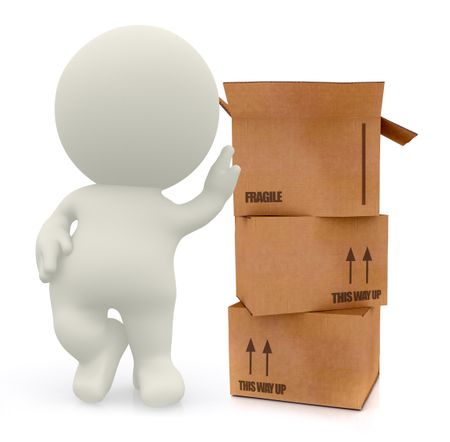 3D man with cardboard boxes in high detail isolated over a white background