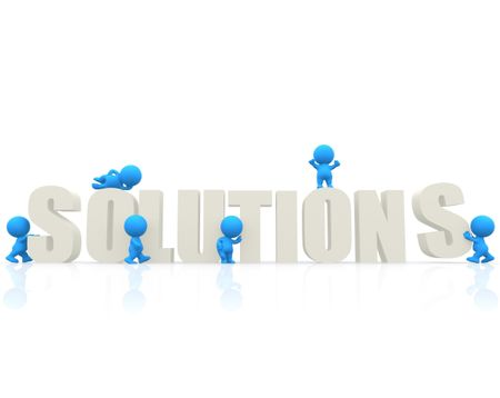 "3D people around the word ""solutions"" isolated over a white background"