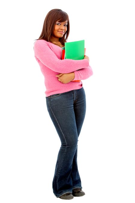 Female student holding notebooks isolated over a white background