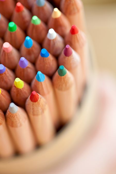 Closeup of wooden color pencils