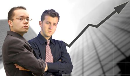 business team with graph and corporate background
