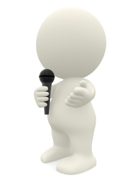 3D person talking with a microphone isolated over a white background