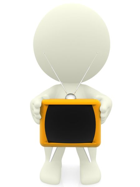 3D person holding a tv isolated over a white background
