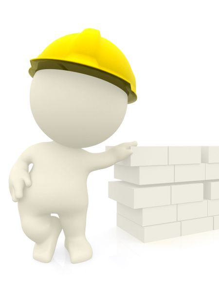 3D construction worker leaning on a brick wall - isolated