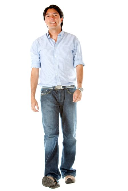 Casual man walking isolated over a white background
