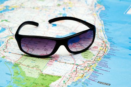 Sunglasses on map of Florida