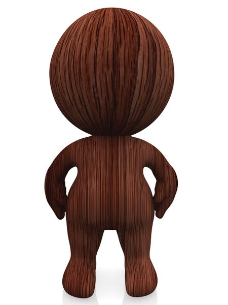 3D dark wooden person isolated over a white background
