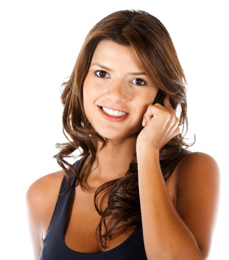 casual woman talking on the phone isolated over a white background