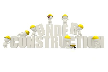 "3D man wearing helmets with ""under construction"" sign isolated over white"