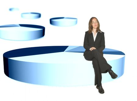 business woman sitting on the biggest portion of a pie chart