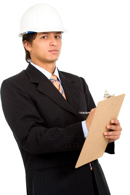 young business architect making notes on his pad over a white background