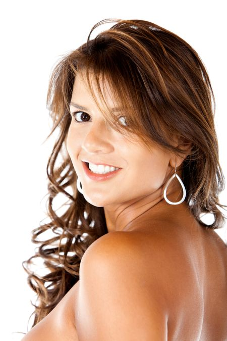 Beauty woman portrait smiling isolated over a white background