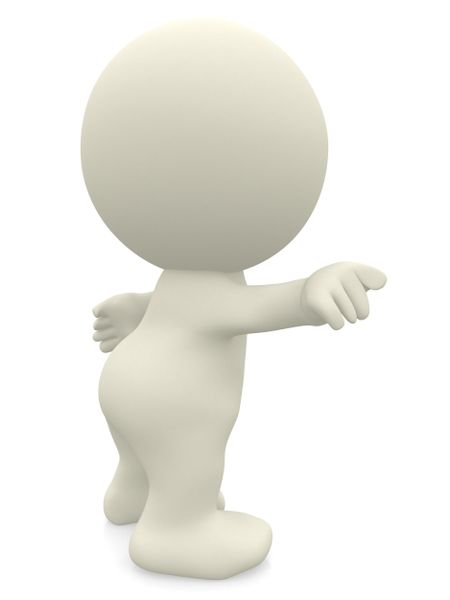 3D man pointing away isolated over a white background
