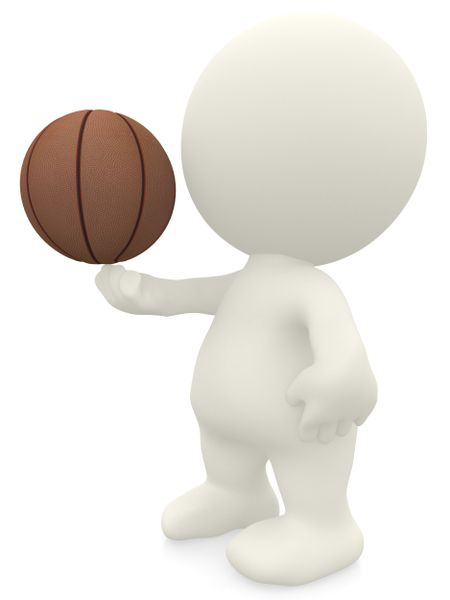 3D basketball player spinning the ball on his finger - isolated