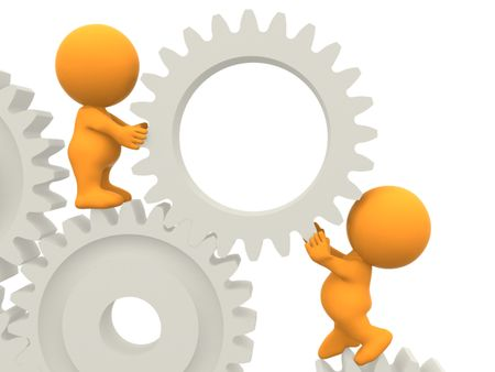 3D people assembling gears isolated over a white background