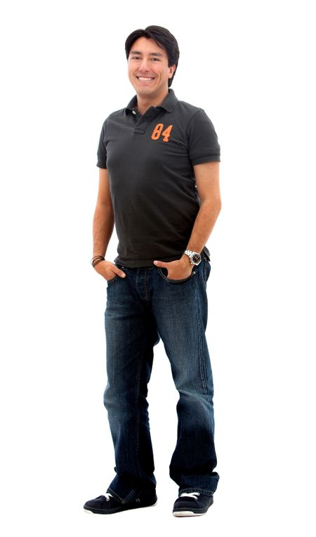 Fullbody casual man smiling - isolated over a white background