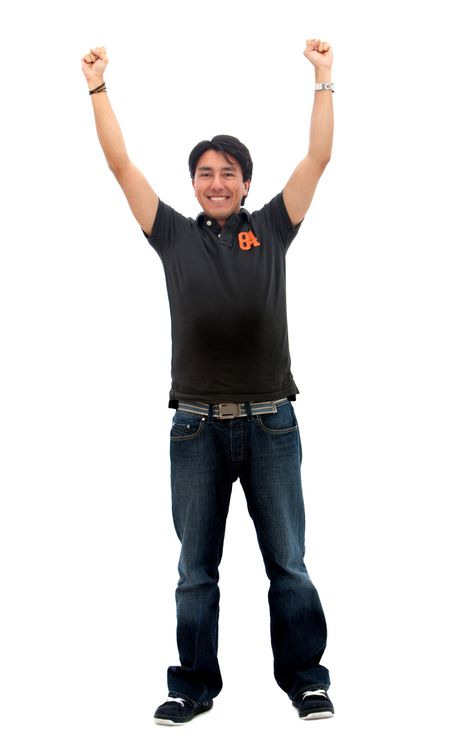 Happy man with arms up isolated over a white background
